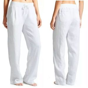 Athleta white linen drawstring pants Sz 0 XS